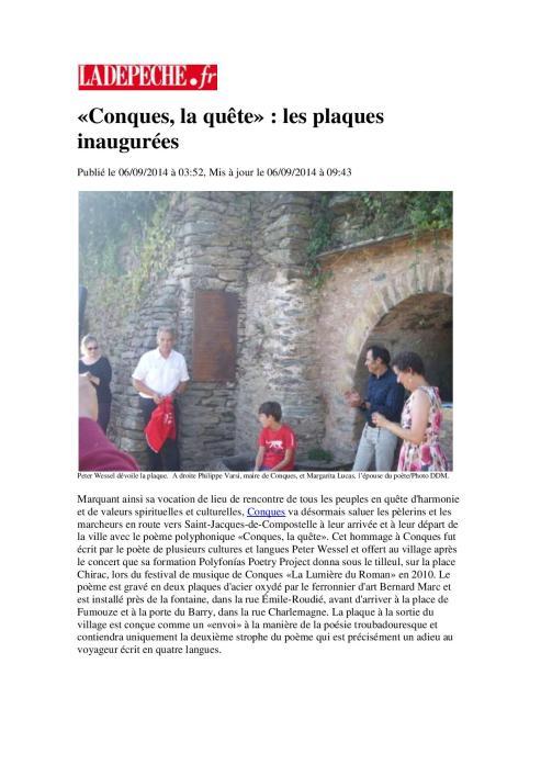 La Dépêche 6.9.14. Les plaques inaugurées. Rev. docx-page-001